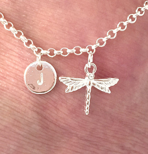 Silver personalised initial Dragonfly Anklet - Statement Made Jewellery