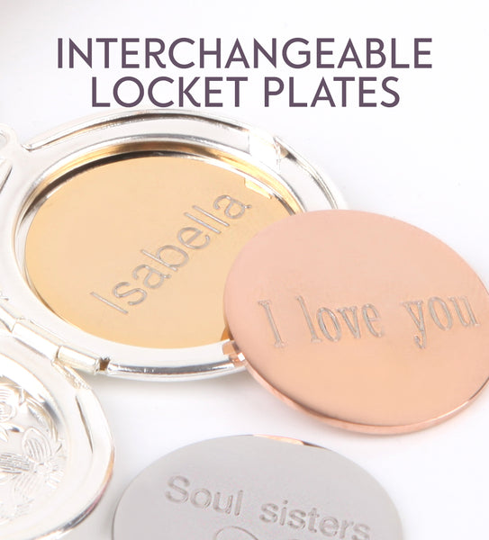Gold hidden message locket with engraved message 'soul sisters', round locket necklace - Statement Made Jewellery