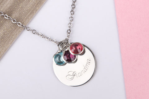 Silver 'grandma' engraved name gift disc Stainless steel necklace - Statement Made Jewellery