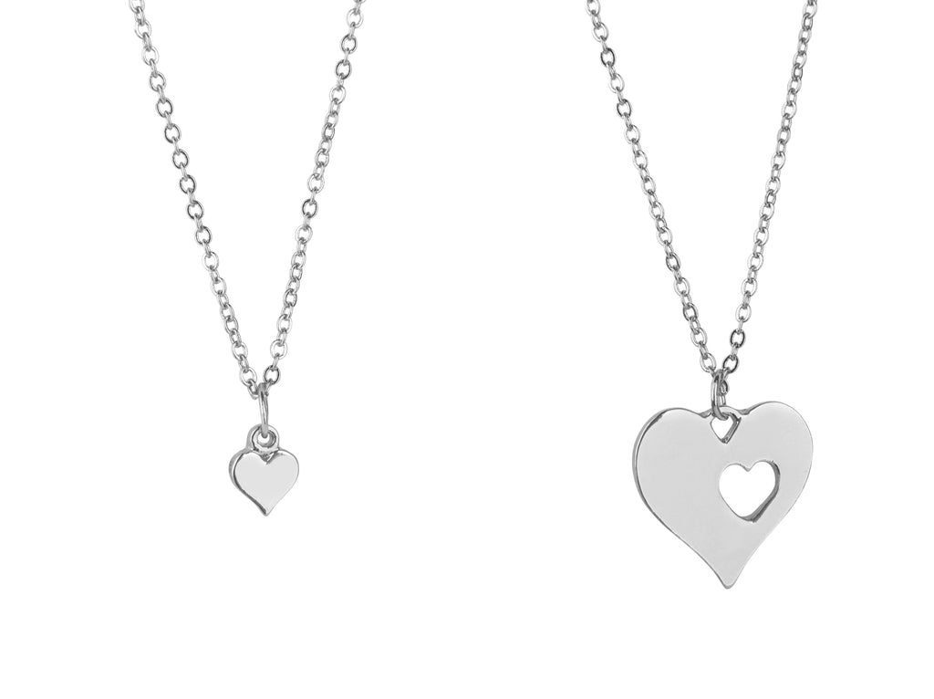 Mother and daughter necklace silver heart - Statement Made Jewellery