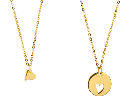 Gold Mother and daughter heart necklaces - Statement Made Jewellery