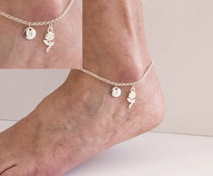 Silver personalised rose Anklet - Statement Made Jewellery