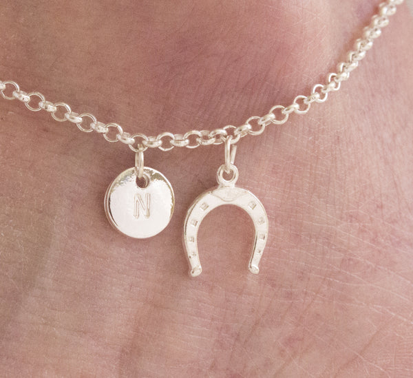 Silver personalised horseshoe Anklet - Statement Made Jewellery