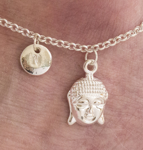 Silver personalised buddha head Anklet - Statement Made Jewellery