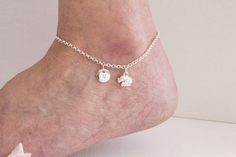 Silver personalised elephant Anklet