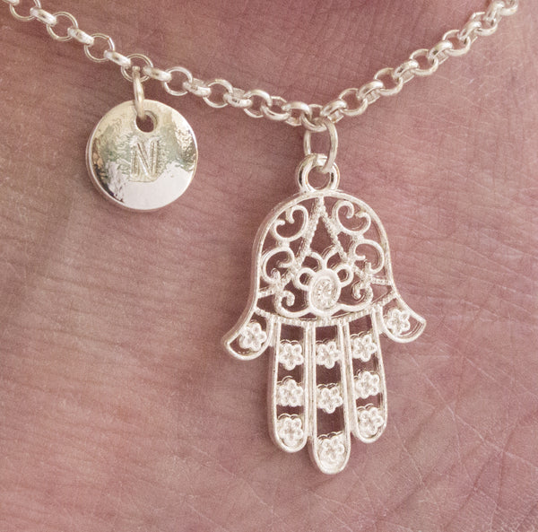 Silver personalised hamsa hand Anklet - Statement Made Jewellery