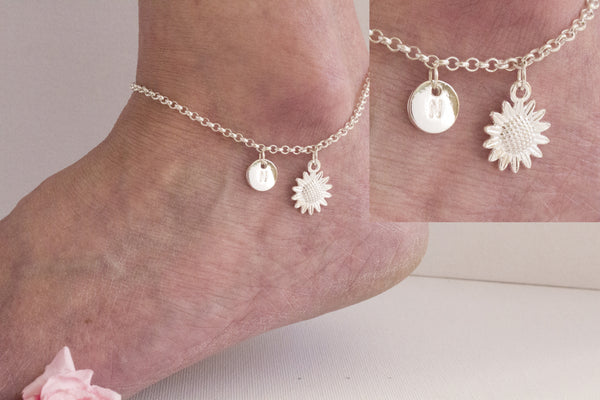 Silver personalised sunflower Anklet - Statement Made Jewellery