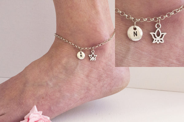 Tibetan silver personalised lotus flower Anklet - Statement Made Jewellery