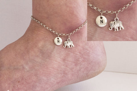 Tibetan silver personalised elephant Anklet - Statement Made Jewellery