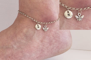 Tibetan silver personalised bumble bee Anklet - Statement Made Jewellery