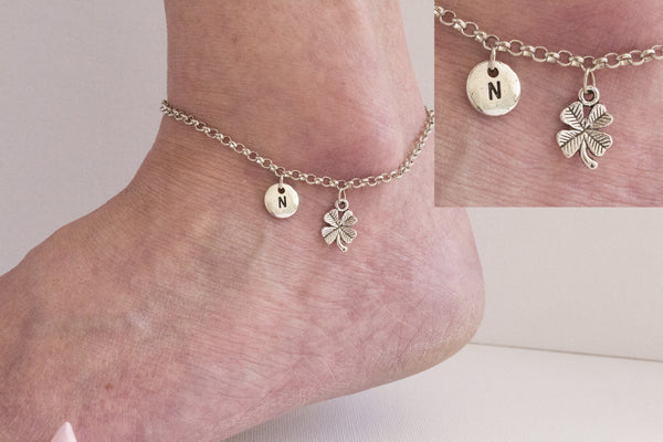 Tibetan silver personalised four leaf clover Anklet - Statement Made Jewellery