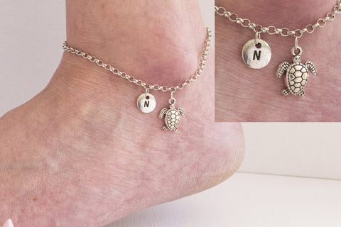 Tibetan silver personalised turtle Anklet - Statement Made Jewellery