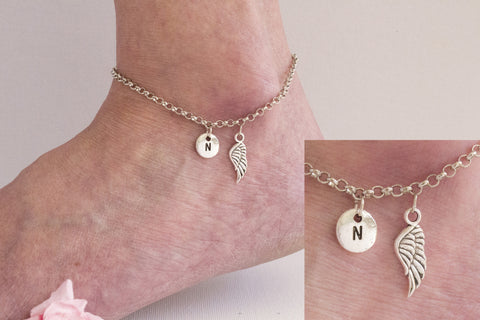 Tibetan silver personalised angel wing Anklet - Statement Made Jewellery