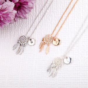 Rose Gold Dream Catcher Necklace with initial charm - Statement Made Jewellery