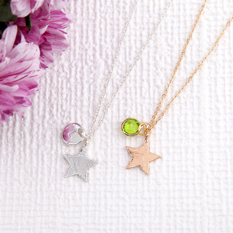 Gold and Silver star necklace pendant, personalised star gifts uk - Statement Made Jewellery