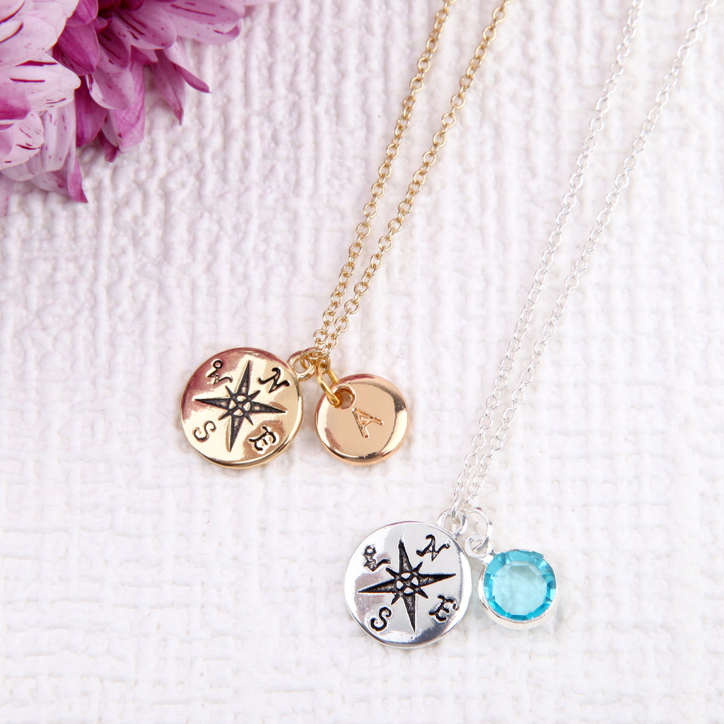 Gold compass necklace compass  pendant, personalised travelling gifts uk - Statement Made Jewellery