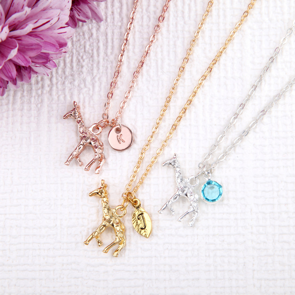 Rose gold, Gold and Silver giraffe necklace giraffe pendant, personalised giraffe jewelry uk - Statement Made Jewellery