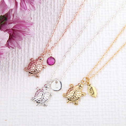 Image of Rose gold, Gold and Silver turtle necklace tortoise pendant, personalised turtle jewelry uk - Statement Made Jewellery