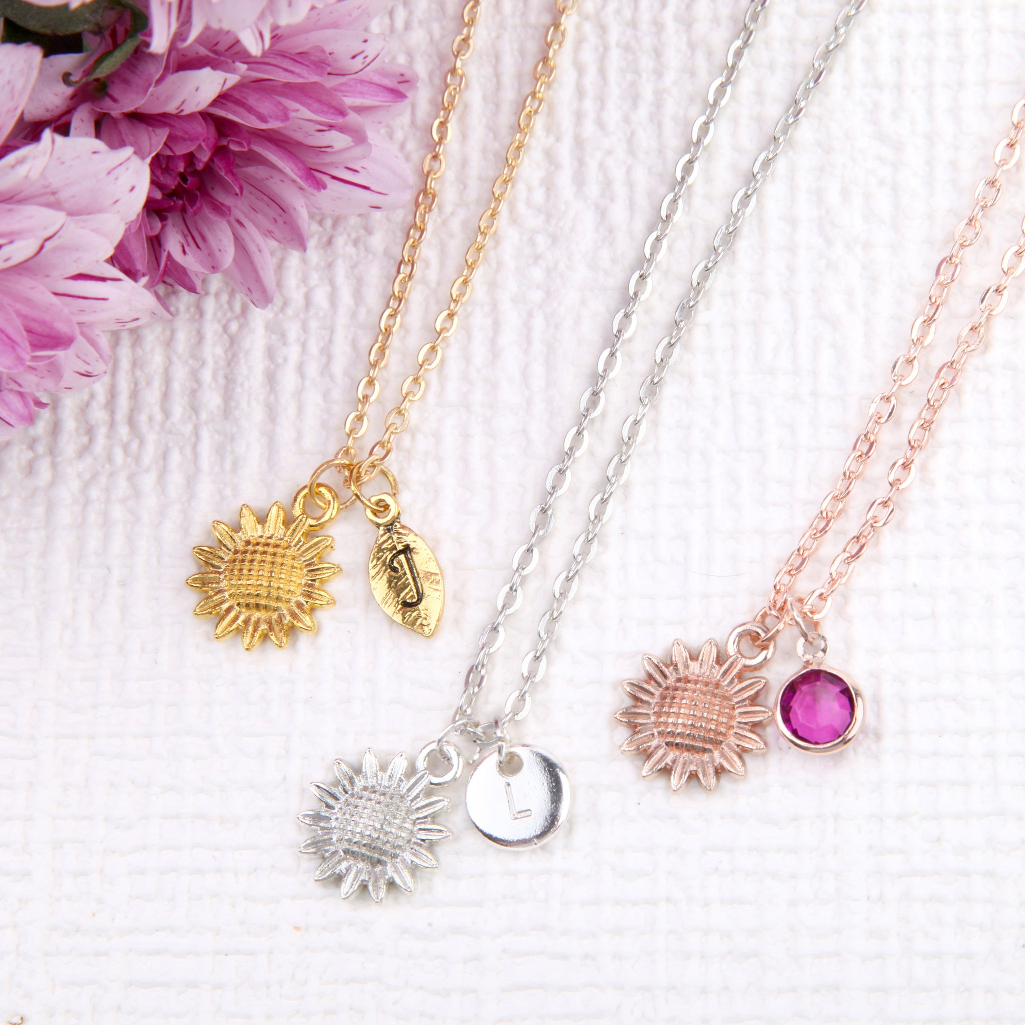 Rose gold, Gold and Silver sunflower necklace daisy pendant, personalised sunflower jewelry uk - Statement Made Jewellery