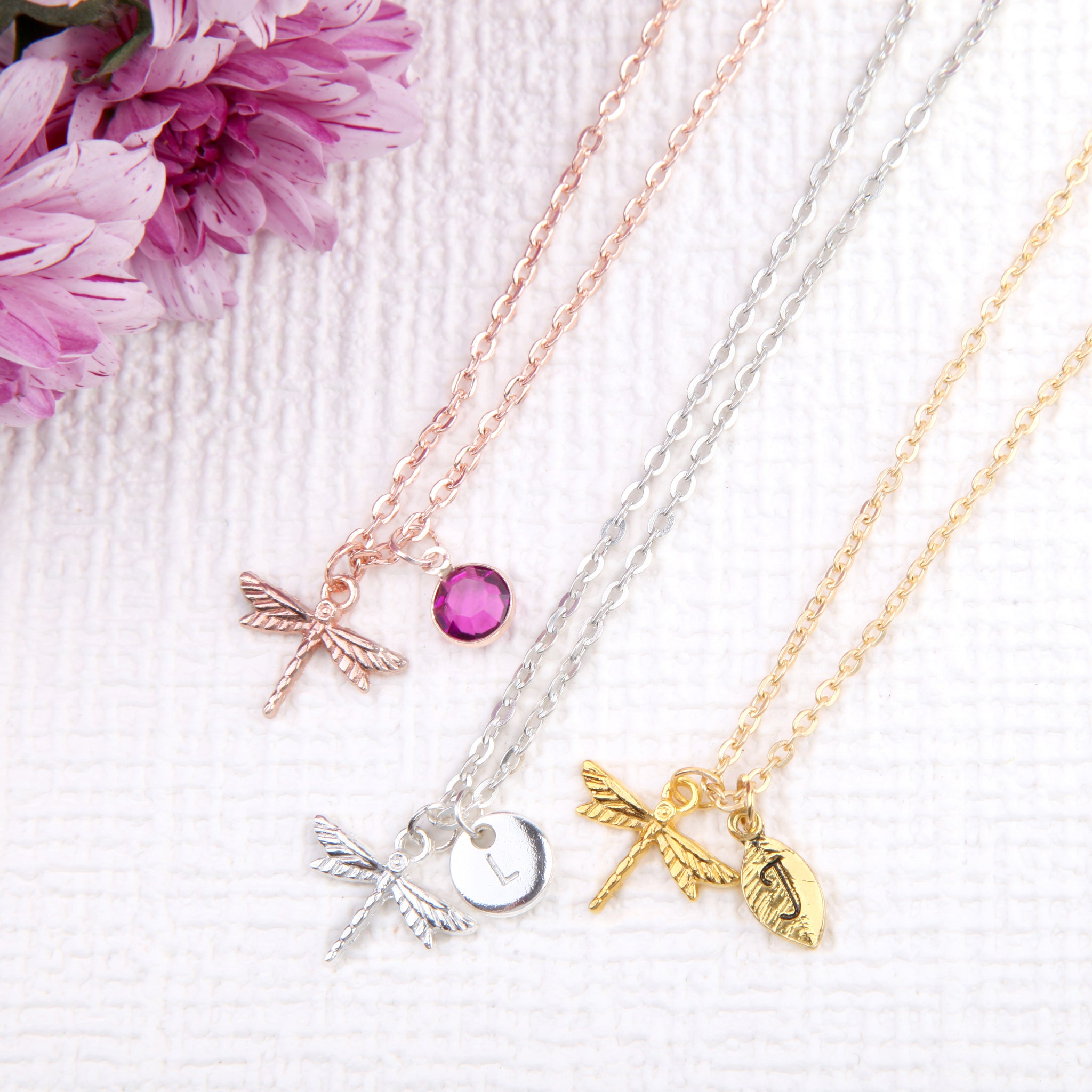 Rose gold, Gold and Silver dragonfly necklace insect woodland pendant, personalised dragon fly gifts uk - Statement Made Jewellery
