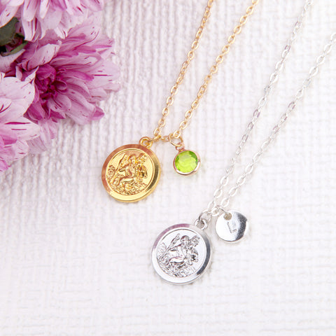 Gold or Silver st Christopher necklace st Christopher pendant, personalised travelling gifts uk - Statement Made Jewellery