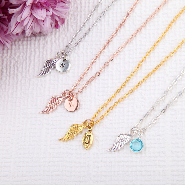 Rose gold, Gold and Silver Angel wings necklace guardian angel pendant, personalised memorial jewellery uk - Statement Made Jewellery