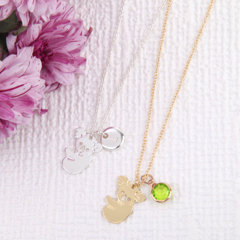 Gold or Silver koala bear necklace koala bear pendant, personalised koala jewelry uk - Statement Made Jewellery