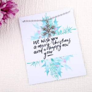 Christmas snow gifts snowflake message card necklace - Statement Made Jewellery