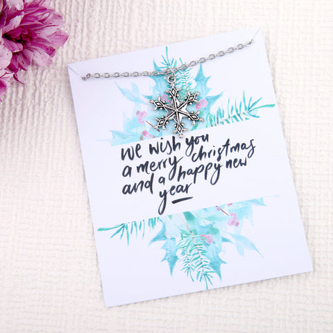 Christmas snow gifts snowflake message card necklace