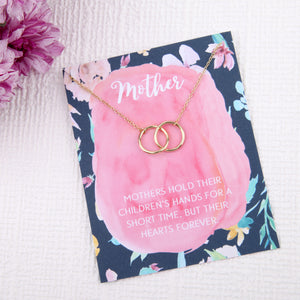 Mother mum gift entwined circles message card necklace - Statement Made Jewellery