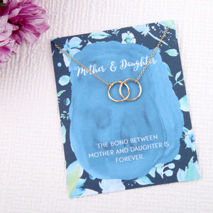 Mother and daughter gift entwined circles message card necklace - Statement Made Jewellery
