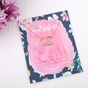 Soul sisters gift entwined circles message card necklace