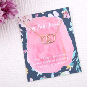 Best friend friendship gift entwined circles message card necklace - Statement Made Jewellery