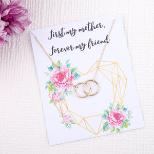 Mother mom mummy gifts circles message card necklace