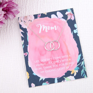 Mom mommy family gift entwined circles message card necklace