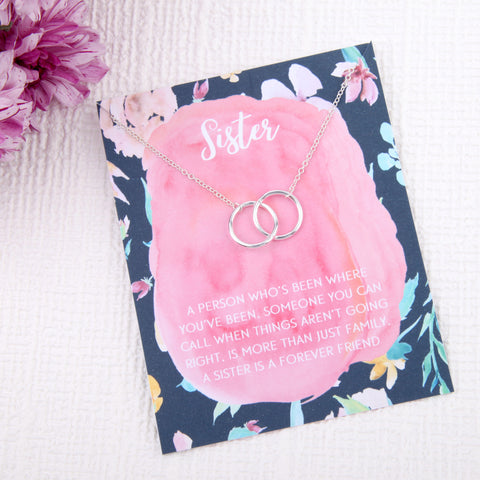 Sister family gift entwined circles message card necklace