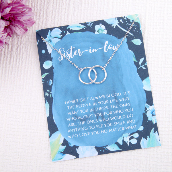 Sister in law wedding party gift entwined circles message card necklace