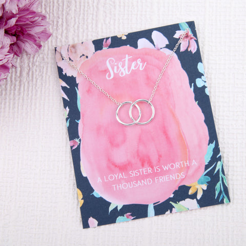 Image of Sister gifts entwined circles message card necklace
