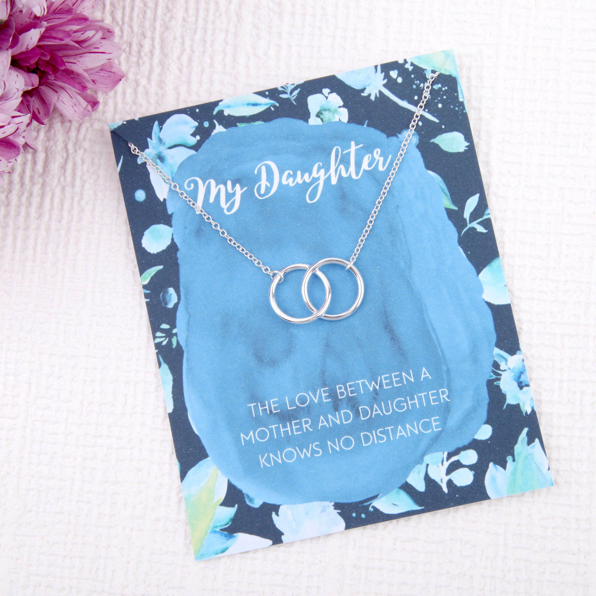Daughter gifts entwined circles message card necklace - Statement Made Jewellery