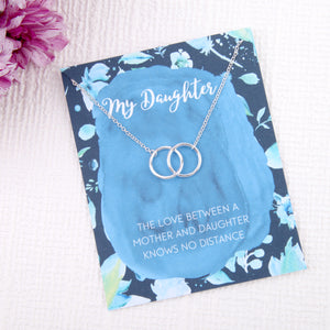 Daughter gifts entwined circles message card necklace
