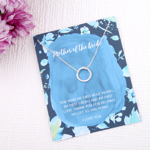 Mother of the bride gifts circles message card necklace
