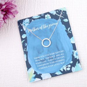 Mother of the groom gifts circles message card necklace