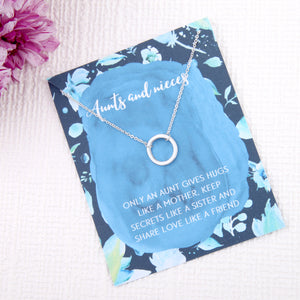 Aunts and nieces aunty gifts circles message card necklace