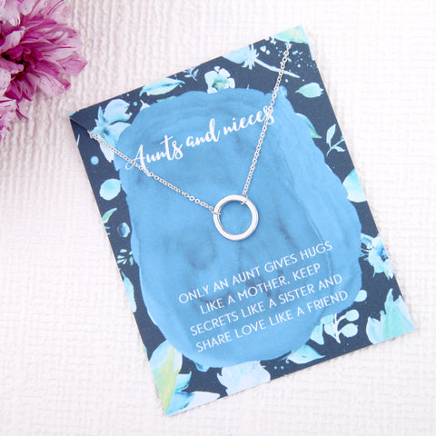 Aunts and nieces aunty gifts circles message card necklace - Statement Made Jewellery