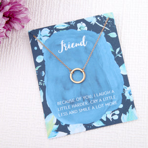 friendship bff gifts circles message card necklace