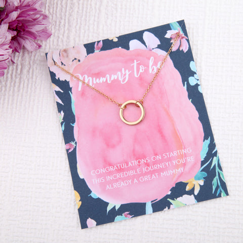 mummy to be baby shower gifts circles message card necklace