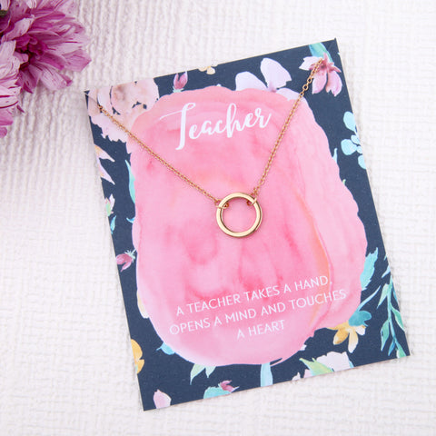 Teacher end of term gifts circles message card necklace