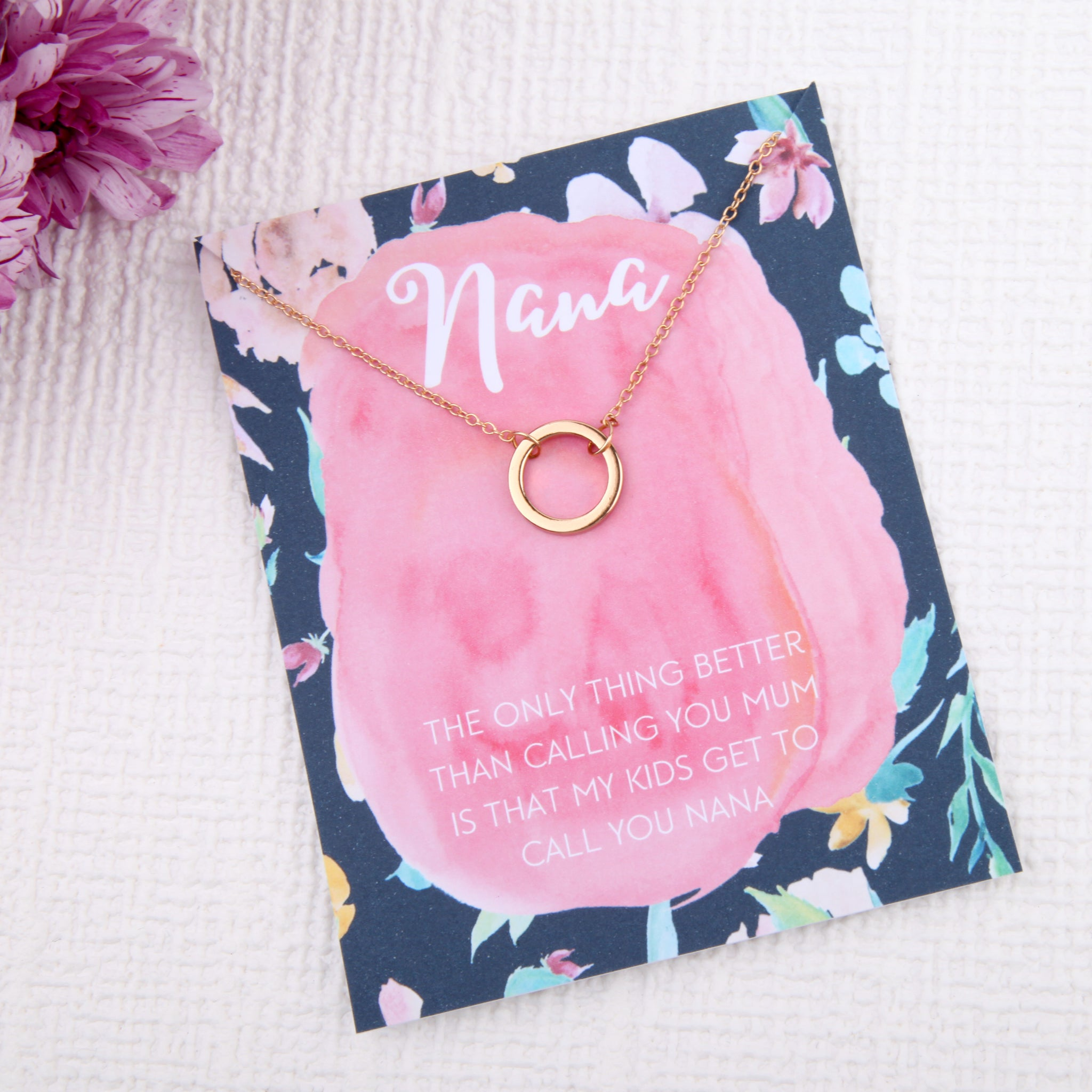 Nana grandma grandmother gifts circles message card necklace - Statement Made Jewellery