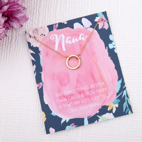 Image of Nana grandma grandmother gifts circles message card necklace - Statement Made Jewellery