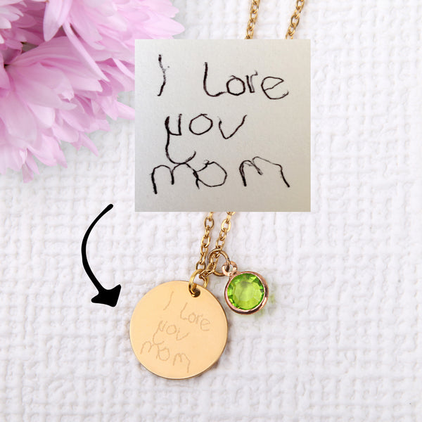 Actual handwriting signature drawing necklace personalised unique necklace uk - Statement Made Jewellery